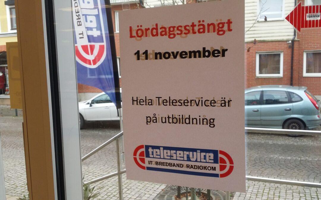 Stängt i Sjöbo på lördag 11 november